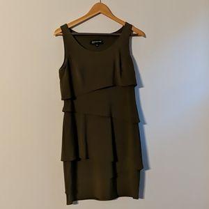 Olive tiered midi dress